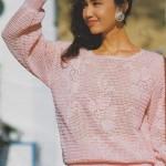 Růžový pulovr s květy