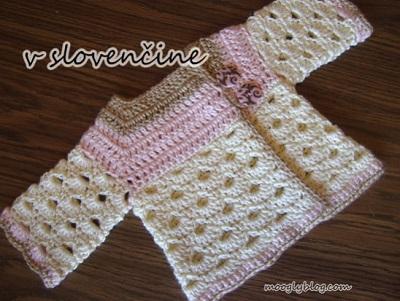 dba52441afed Vzorovaný kabátek pro miminko. Návod (slovensky) na háčkovaný kojenecký  kabátek pro velikosti 3 měs