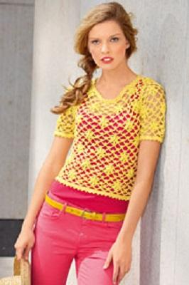 c106b0d1c9a Návod na dámské háčkované tričko pro velikosti 36