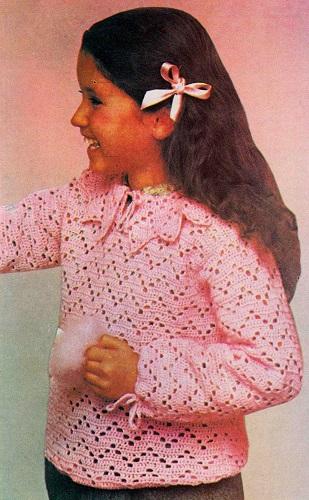 39b41aafefd Dětská háčkovaná halenka – pulovr. Návod na filetově háčkovanou halenku    pulovřík pro dítě ve věku 5 – 6 let je z historických zdrojů.