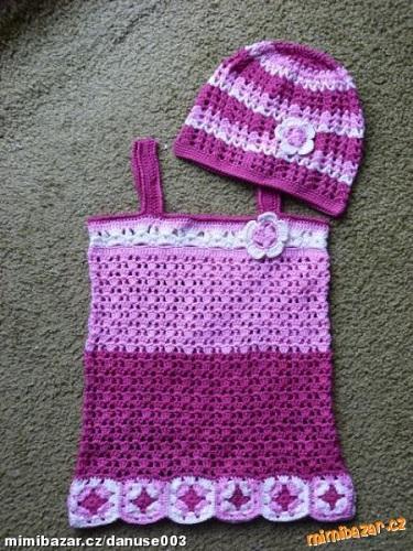 1240923ea01d Dětské háčkované šaty s ramínky a čepička. Návod na háčkované šatičky –  tuniku pro velikost dítěte cca 2 roky. Model je háčkovaný přízí Camilla (zn.