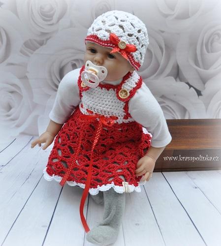 e177cb5f2eae Háčkované kojenecké šatičky. Návod (+ videonávod) na háčkované šaty pro  velikost miminka 56 – 62 cm (tj. cca 0 – 2 měs). Model je háčkovaný přízí  Kora (zn.