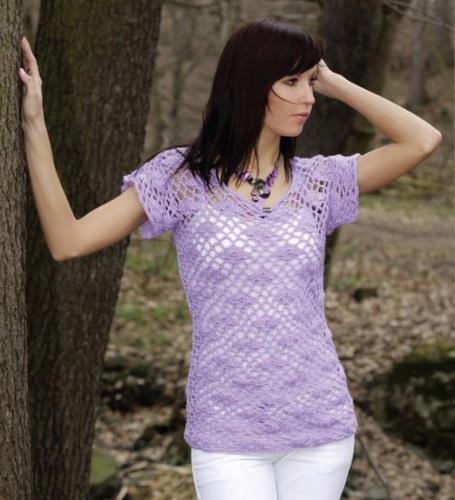 a2f63e3917e Háčkovaná dámská halenka. Návod na háčkované tričko. Pro dámskou velikost  36 – 38. Model je háčkovaný přízí Flora (zn. Kartopu) háčkem č. 3